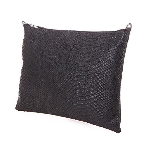reptile rectangulaire Noir Pochette simili Modeuse La cuir en aspect PBw0qxRpx