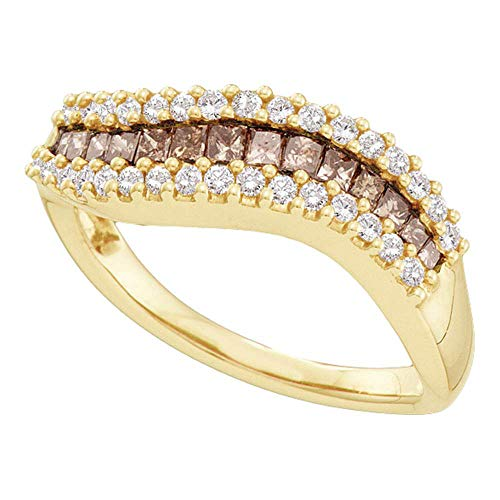 Dazzlingrock Collection 14kt Yellow Gold Womens Princess Brown Diamond Contoured Band Ring 5/8 Cttw