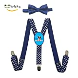 Xiacai Summer Dog Suspender&Bow Tie Set Adjustable Clip-On Y-Suspender Children