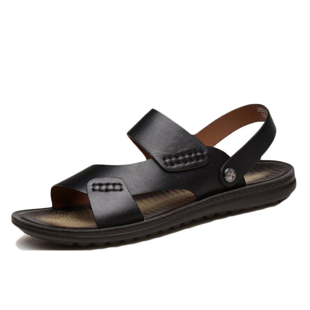snfgoij Sandalias De Los Hombres Deportes Al Aire Libre Ajustables Zapatos De Playa Cómodos Verano Cuero De Punta Abierta Casual Transpirable 43 EU|Brown2