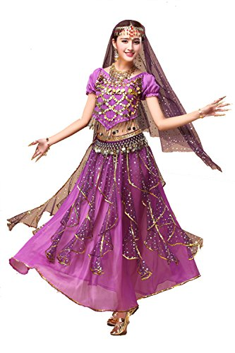 YYCRAFT Women's Halloween Costume Tops Skirt Set with Accessories Belly Dance Performance Outfit-Style B,Purple ()