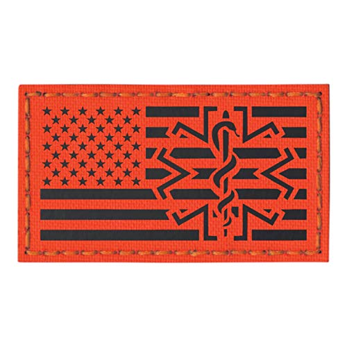 Tactical Freaky IR USA Flag EMS Star of Life USAR Urban Search and Rescue Medic Paramedic Fastener Patch