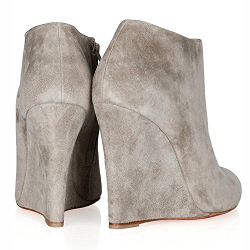 Wild Ankle Fashion Women Grey Spring Shoes Round Suede Autumn Gray Heel Winter Head High Boots Ladies Wedge qwfqI1