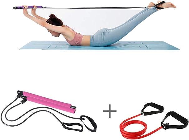ZHLONG Pilates Kit YogaTension manijas Banda de Entrenamiento Estiramiento palillo de Culturismo Gimnasio en casa Paquete Pie Loop Fisioterapia Culturismo,Pink: Amazon.es: Hogar