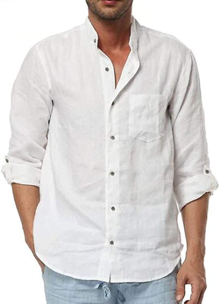 Mens Linen Shirt Casual Button Down Long Sleeve Cotton Curved Hem Lightweight Basic Regular Fit Summer Beach Tops