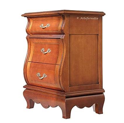Comodino classico in legno sagomato con 3 cassetti intarsiati ...
