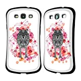 Official Monika Strigel Wolf Animals And Flowers 2 Hybrid Case for Samsung Galaxy S3 III I9300