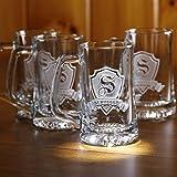 Personalized, monogrammed beer mugs SET OF 5 (M30)