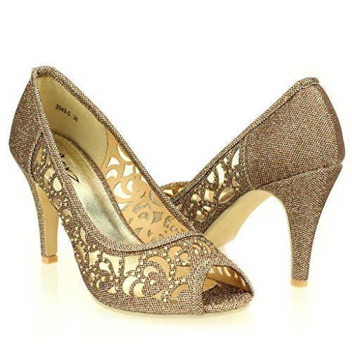 AARZ LONDON Frau Damen Abend Hochzeit Party Abschlussball Diamant High Heel Peeptoe Sandalen Schuhe Größe Braun