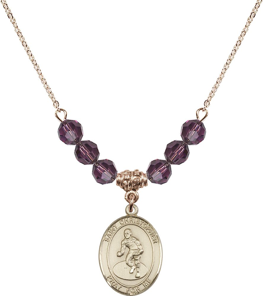 Gold Plated Necklace with 6mm Amethyst Birthstone Beads & Saint Christopher/Wrestling Charm. by F A Dumont