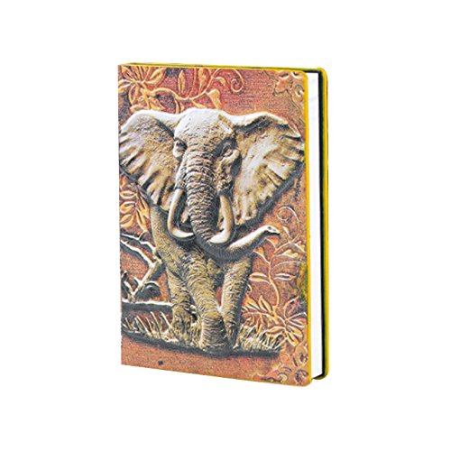 Kennedy Traveler Style Leather Journal 3D Double-Sided Embossed Leather Retro Elephant Pattern Notebook A5 Business Notepad Personal Diary Colorful by Kennedy