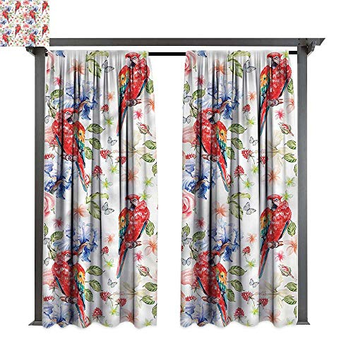 (cobeDecor Outdoor Curtain Parrot Parrots Iris and Roses for Lawn & Garden, Water & Wind Proof W72 xL84)