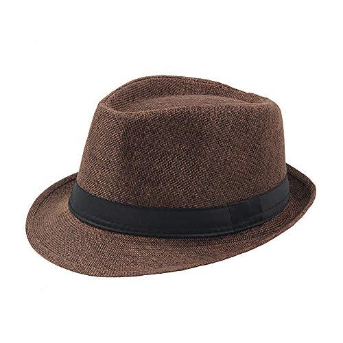 IL Caldo Mens Summer Linen Sewn Hat,Breathable Linen Porkpie Hat Stingy Brim Cap,Coffee