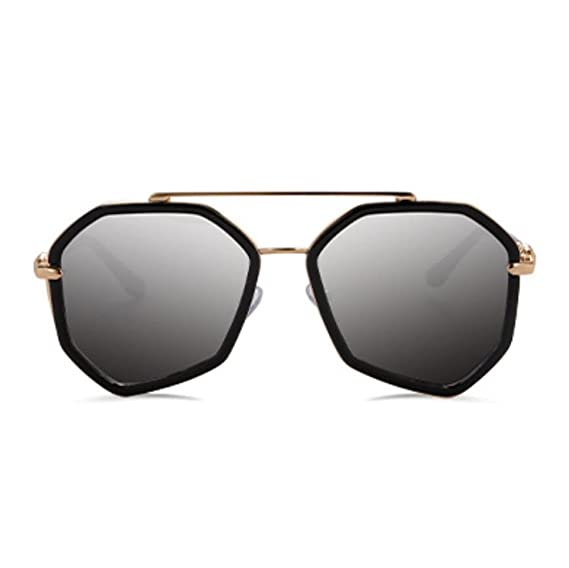 Z&YQ Occhiali da sole grandi occhiali da vista Vetri poligonali irregolari, reflective silver