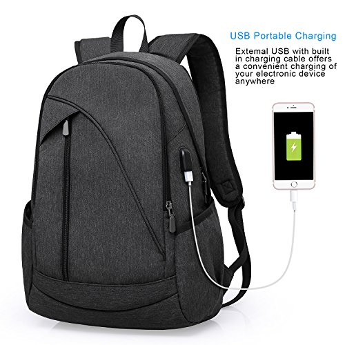 ibagbar Water Resistant Laptop Backpack with USB Charging Port Fits up to 15.6-Inch Laptop and Notebook (Cool Accessories)