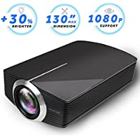 Vamvo Home Theater Movie Projector LED Source Video Projector Supported 1080P Portable Projector Compatible with Fire TV Stick,HDMI/VGA/USB/SD for Family or Party 2018 New Version (Black)