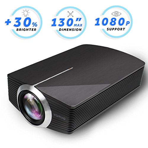Led Projector, Vamvo Home Theater Movie Projector LED Source Video Projector Supported 1080P Portable Projector Compatible with Fire TV Stick,HDMI/VGA/USB/SD 2018 New Version - Units Lb 2.2