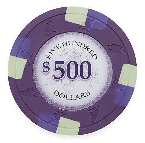 Pack of 50 Poker Knights Poker Chips, Heavyweight 13.5-gram Clay Composite by Claysmith Gaming ($500 Purple)