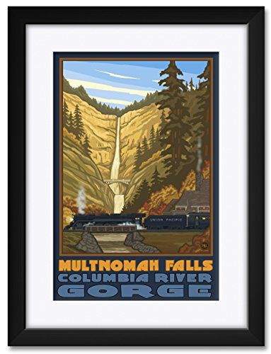 Northwest Art Mall Multnomah Falls With Train Columbia Gorge Oregon Framed & Matted Art Print by Paul A. Lanquist. Print Size: 12
