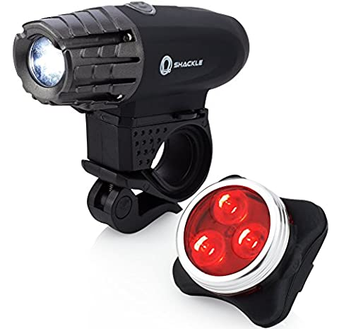 USB Rechargeable Bike Light - Shackle 350 Lumens LED Waterproof Bicycle Headlight - Tail Light Set (350 Lumen Light)