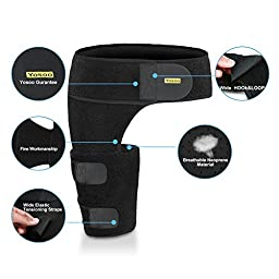 Yosoo Groin Support Adjustable Neoprene Strained Groin Brace Wrap with Waist Support for Pulled Groin Pain Hip Thigh Hamstring Injury and Recovery for Women and Men, Black