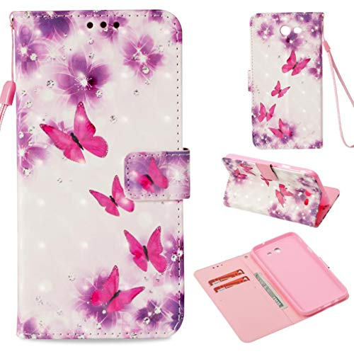 Firefish Galaxy J7 2017 Case,Durable Kickstand Pu Leather Case Cover 3D Printing Pattern Magnetic Closure Full Protective Case Anti Sliding Credit Card Holder Samsung Galaxy J7 2017 -Butterfly ()