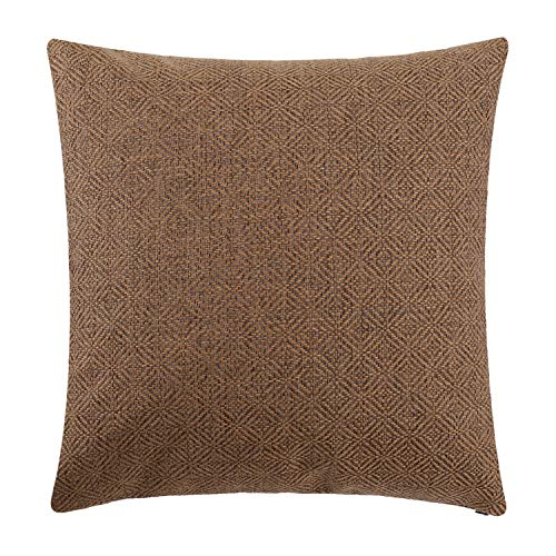 Jepeak Burlap Linen Throw Pillow Cover Rhombus Pattern Cushion Case, Solid Thickened Farmhouse Modern Home Decorative Square Luxury Pillow Case for Sofa Couch Bed (Caramel/Coffee, 18 x 18 Inches)