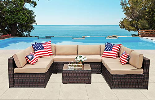 PATIORAMA Outdoor Furniture Sectional Sofa Set (9-Piece Set) All-Weather Brown Wicker with Beige Seat Cushions &Glass Coffee Table  Patio, Backyard, Pool  Steel Frame