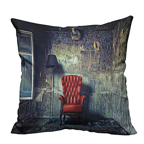 Home DecorCushion Covers Luxury Armchair Floor Lamp in Grunge Interior Damaged Messy Abanded House Window Decorative for Kids Adults 20x20 inch(Double-Sided Printing)