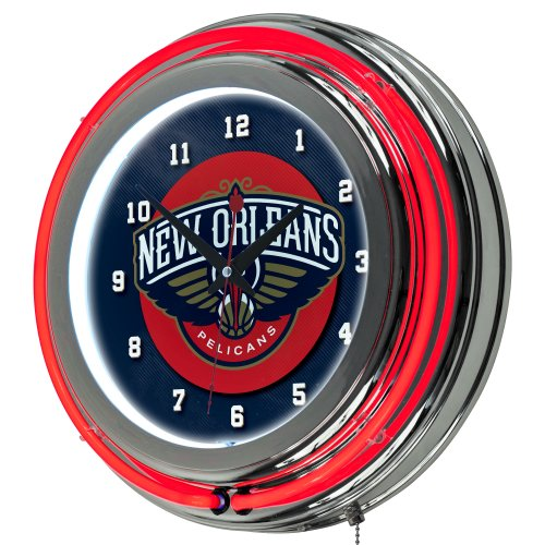 NBA New Orleans Pelicans Chrome Double Ring Neon Clock, 14