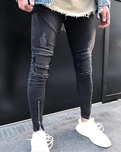 Hombre Transpirable Super Skinny Fit Pantalones Vaqueros Rotos Elasticos Jeans