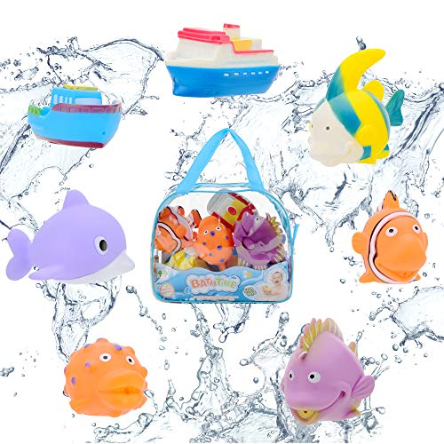 Next Milestones Bath Toys for Babies - 7 pcs Cute Squirting Bath Toys Including Fishes and Boats Water Floating Toys for Toddlers Babies and Kid -Bathtub Toys and a Bag for Toy Organizer