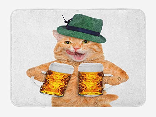Weeosazg Cat Bath Mat, Cool Cat with Hat and Beer Mugs Bavarian German Drink Festival Tradition Funny Humorous, Plush Bathroom Decor Mat with Non Slip Backing, 31.5 X 19.7 Inches, Multicolor -