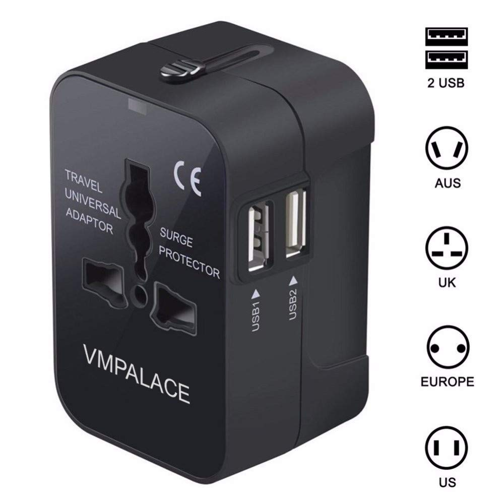 Travel Adapter, VMPALACE Worldwide All in One Universal Power Converters Wall AC Power Plug Adapter Power Plug Wall Charger with Dual USB Charging Ports for USA EU UK AUS Cell phone laptop