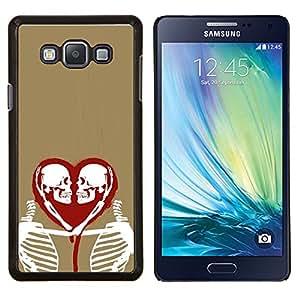 "Be-Star Único Patrón Plástico Duro Fundas Cover Cubre Hard Case Cover Para Samsung Galaxy A7 / SM-A700 ( Corazón del amor Esqueleto Oro Rojo Blanco"" )"
