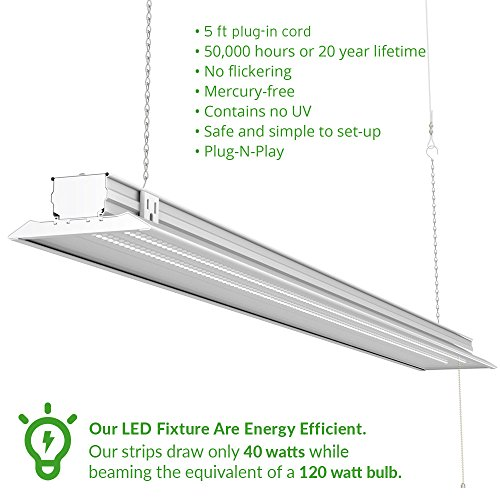 Sunco Lighting 10 PACK - ENERGY STAR 4ft 40W LED Utility Shop Light FLAT DESIGN 4500lm 120W Equivalent, LED Fixture, 5000K Daylight Ceiling Light, Garage/Basement/Workshop, Linkable, ETL, Clear by Sunco Lighting (Image #2)