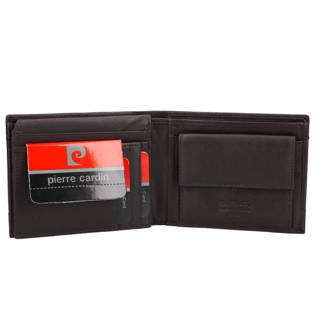 PIERRE CARDIN cartera hombre cuero moro RFID con monedero y ...