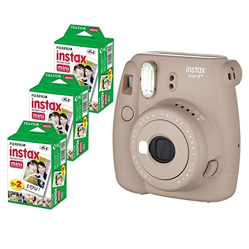 Fujifilm Instax Mini 8+ (Cocoa) Instant Film Camera with No pattern film 3 x 20 Shoots (Total 60 Shoots) , 60PCS photo fram stickers