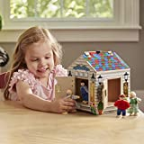 "Melissa & Doug Take-Along Wooden Doorbell Dollhouse, Doorbell Sounds, Keys, 4 Poseable Wooden Dolls, 9"" H x 6.8"" W x 6.8"" L"