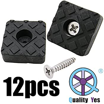QY 12PCS Black Color Square Shape Rubber Non Slip Non Skid Feet Pad for Table Desk Chair and Sofa