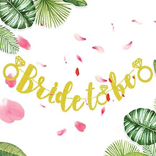 KeaParty Bachelorette Party Decorations - Bride To Be Banner by Bachelorette Party Favors, Bride To Be Banner, Gold Glitter Bachelorette Banner