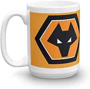 wolverhampton wanderers Logo T Shirt. 15 Oz Ceramic Coffee Mug Also Makes A Great Tea Cup With Its Large, Easy to Grip C-handle