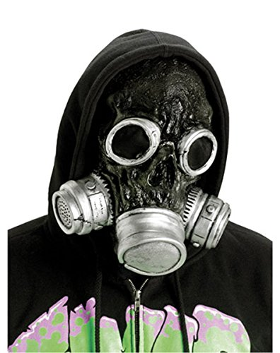 [Silver Bio Zombie Gas Mask - Adult Std.] (Halloween Costumes With Gas Mask)