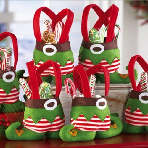 (Dealzip Inc Christmas Elf Spirit Boots Shoes Candy Cookie Gift Bag Sack Stocking Filler Xmas Party Decoration Sack-Pack of 6)
