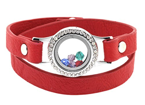 Floating Charm Glass Locket Pendant PU Leather Wrap Bracelet with Free Crystal Charms (Red)