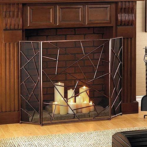 ガーデン暖炉スクリーン、3パネル華やかな錬鉄メタル暖炉立ち門 - 30X75X85cm - ブロンズ