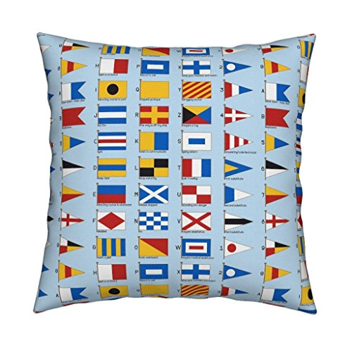 Roostery Sailing Velvet Throw Pillow 01958929 : Nautical Signalling Flags by Sef Cover and Insert Included by - Nautical Code Flag Pillow