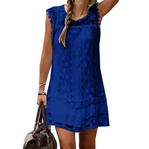 vestido sin mangas ocasional de las mujeres de senora White Lace mini vestido de verano Azul