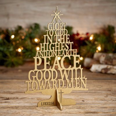 Wood Laser Cut Christmas Tree w/Stand (Luke 2:14 K