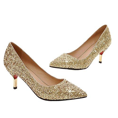 Enmayer Donne Glitter Scarpe A Punta Tacco Basso Ufficio Lady Scarpe Da Festa Pompe Oro (tacco: 7 Cm)